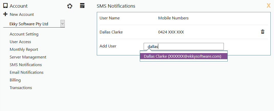 List of subscribed users for SMS notifcations