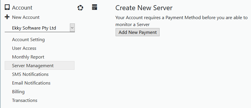 Creating a Server requing payment method