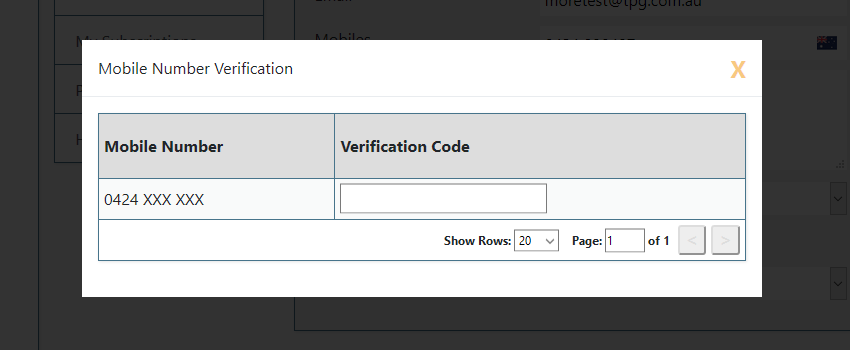 SMS number confirmation popup