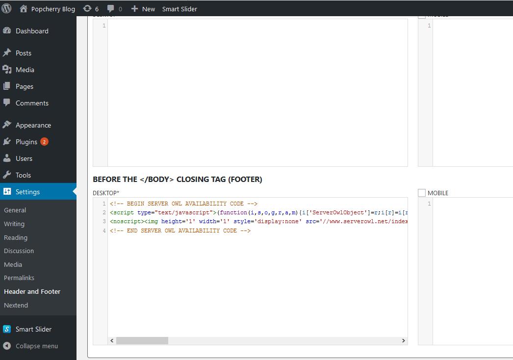 WordPress Admin with ServerOwl pixel installed